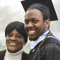 Graduate and his mother at commencement